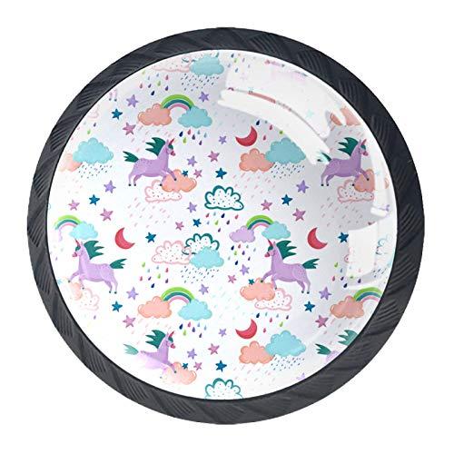 LXYDD Manijas para cajones Perillas para gabinetes Perillas Redondas Paquete de 4 para Armario, cajón, cómoda, cómoda, etc. Unicornios violetas y Nubes