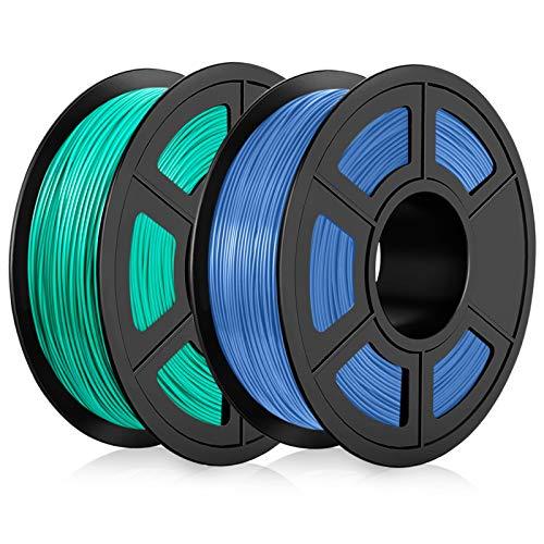 Filamento PLA 1,75 mm, Filamento PLA Impresora 3D, Filamento PLA 2KG (4,4 lb) Grass Green+Blue Grey