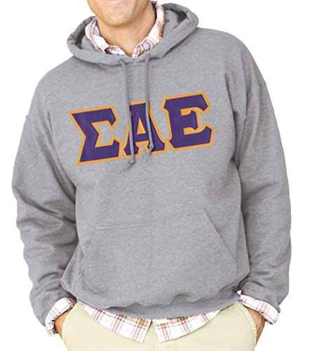 Sigma Alpha Epsilon Fraternity Greek Heather Gray Hoodie with Sewn On Letters SAE