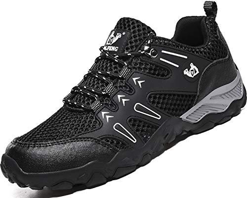 Lvptsh Zapatillas de Trekking para Mujer Transpirable Zapatillas de Senderismo Calzado de Trekking AL Aire Libre Antideslizantes Botas de Montaña,Negro,EU40