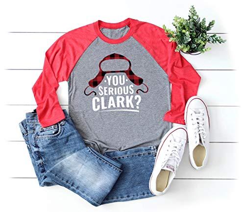 Christmas Vacation Shirt Women Buffalo Plaid You Serious Clark Print Cute Baseball T Shirts for Womens (S, Grey)