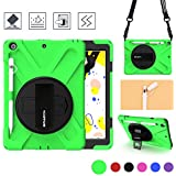 BRAECN Case for iPad 7th Generation,Heavy Duty Rugged Kids Case with Pencil Holder/Pencil Cap Holder/Hand Strap/Swivel Kickstand/New Shoulder Strap for iPad 10.2 case 2019 A2200 A2197 A2198(Green)