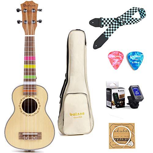 Soprano Ukulele 21 inch, Balnna Traditional ukulele for beginner, Professional Wooden Guitar and Classic Ukulele with Gig Bag & Tuner & Strap & Extra 4 Aquila Strings Set & Picks