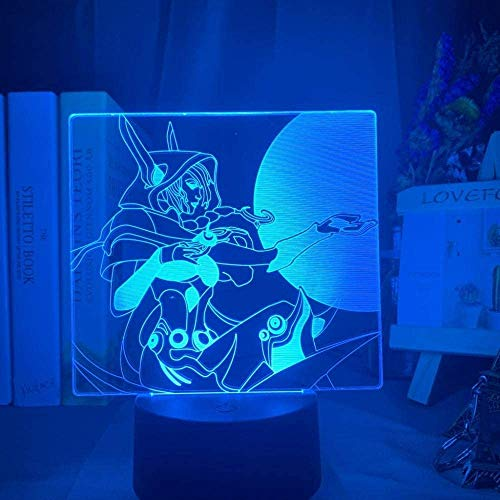 3D Illusion Lamp Led Night Light League of Legends Xayah Colorful Gift for Gamer Kids Bedoom Decor Desk Lamp Best Birthday Holiday Gifts for Children
