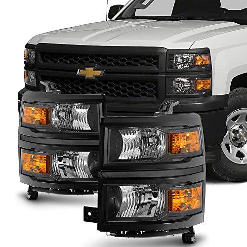 For 2014 2015 Chevy Silverado 1500 Pickup Truck Black Bezel Headlight Lamp Assembly Driver + Passenger Side