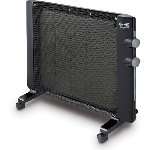 De'Longhi Mica Thermic Panel Heater, Full Room Quiet 1500W, Freestanding/Easy Install Wall Mount, Adjustable Thermostat, 2 Heat Settings, Black, HMP1500