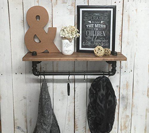 Industrial Style Shelf with Pipe Rack