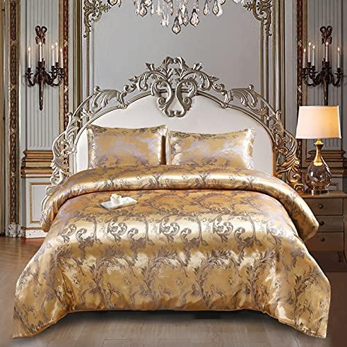 Styho Juego de funda de edredón para cama King Size Europeo de lujo Satinado Floral Jacquard Sedosa Funda de edredón y fundas de almohada sedosas (King, dorado)