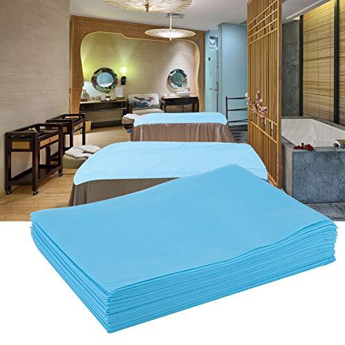 Completo lenzuola, lenzuolo monouso copriletto impermeabile resistente all'olio per lettini da massaggio per spa Salon SPA, set di biancheria da letto ipoallergenica, antirughe e antiscivolo(Blu)