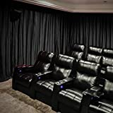 Velvet Blackout Lined Home Movie Theater Curtain Drapes Panel, Pinch Pleated 84W x 108' L (1 Panel) for Stage Event Auditorium, Black