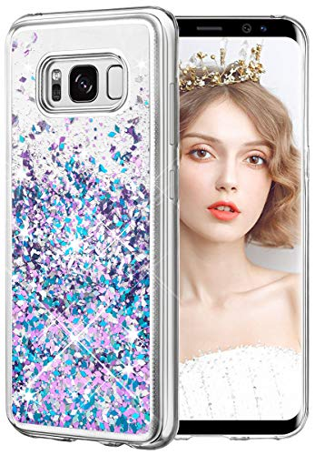 wlooo Glitzer Hülle kompatibel mit Samsung Galaxy S8, handyhülle Galaxy S8 Glitzer, Galaxy S8 Hülle, Flüssig Treibsand Glitter Gradient Quicksand Weich TPU Bumper Silikon Schutzhülle (Blau Lila)