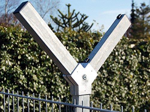 Zaun-Nagel Abwinklung für Doppelstabpfosten Y-Reiter Stacheldrahthalter Gitteraufsatz Übersteigschutz Pfosten-Aufsatz Natodraht Stacheldraht-Halter