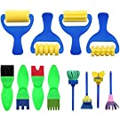 Kids Paint Brush, YGDZ 12 Pack Washable Painting Brushes for Toddlers Kids Early Learning Toys Foam Roller Sponge Arts Craft
