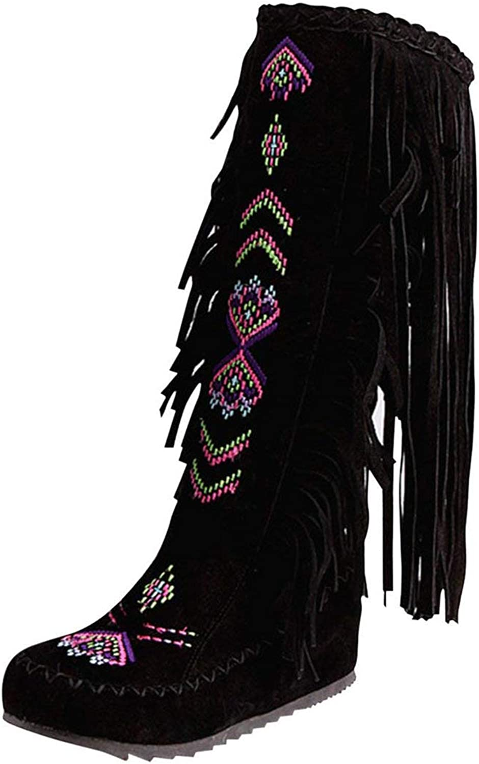 Artfaerie Women's Fringe Mid Calf Boots Hidden Heel Boots with Embroidery Warm Retro shoes