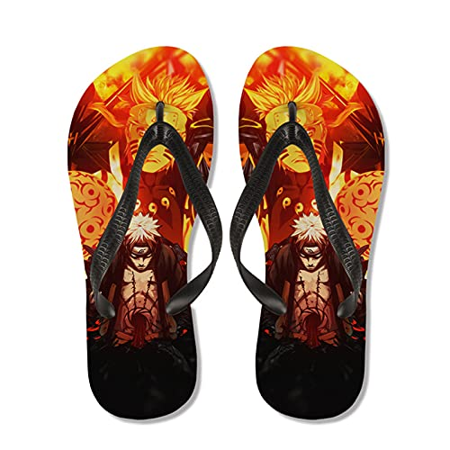 WWZY Herren Flip Flops Anime Naruto Uzumaki Naruto Zehentrenner Sandalen Sommer Badezimmer rutschfest Beach Pool Hausschuhe,Schwarz,EU45~46(305)