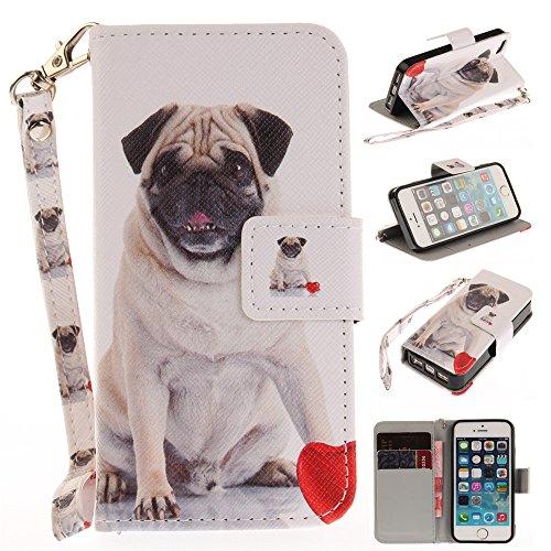 Capa tipo carteira XYX para iPhone 5S, [Pug] [Correia de pulso] Capa tipo carteira de couro premium PU com slots para cart?o para iPhone 5S / iPhone SE 2016