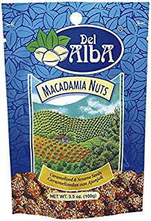 Del Alba Macadamia Nuts Caramelized & Sesame Seeds Snacks (3 bags x 3.5 oz) - Natural Ingredients - Delightful Healthy Nut Snack -Baked Never Fried