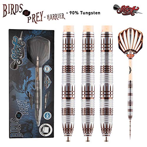 Shot! Darts Birds of Prey Harrier Steel Tip Dart Set/Center Weighted 90% Tungsten Barrels (22)
