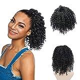MEIRIYFA Negro Afro rizado cordón rizado extensión cola de caballo Fibra sintética Afro rizado Hairpieces para las mujeres 8 pulgadas