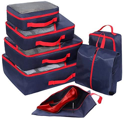 Packing Cubes Set 7-teilig, Faxsthy Packwürfel Packtaschen Kleidertaschen für Kleidung Unterwäsche Kosmetik Wasserdich für Reise Geschäftsreisen Urlaube und Wohnmobile (Blau+Schwarz)