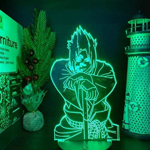 Lámpara de ilusión 3D LED luz Nocturna de Anime Dibujos Animados Naruto Sasuke para niños Lazo de blaeros Decoración Lámpara de suspensión 16 Color Lámpara de Humor