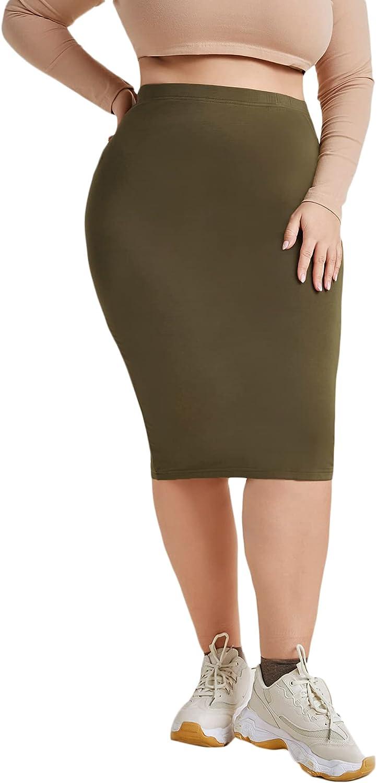 Floerns Women's Plus Size Basic Solid Knee Length Bodycon Pencil Midi Skirt