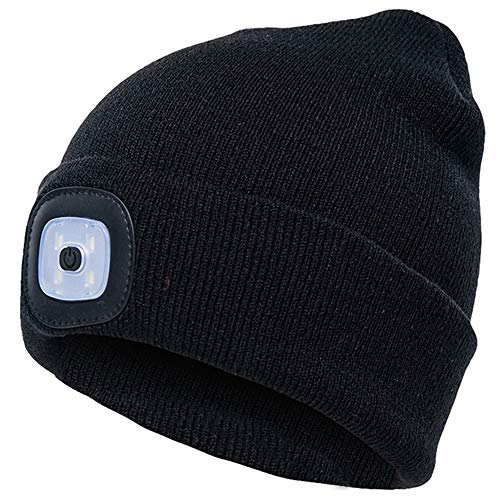 OMOUP Beanie Hat with Light, LED Beanie Hat, USB Rechargeable Hands Free Torch Hat, Warm Bright Unisex Winter Knit Hat Cap for Running Camping Dog Walking (Black)