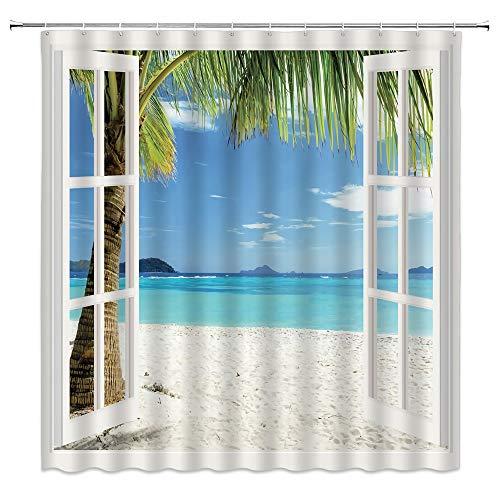 Beach Scene Shower Curtain Ocean Palm Trees
