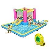 JOYMOR Inflatable Water Slide Park for Backyard, Bounce House w/ Blower, 2 Water Guns, Splash Pool, Water Slide Bouncer Castle Outdoor Playhouse for Little Kids