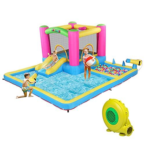 JOYMOR Inflatable Water Slide Park for Backyard, Bounce House w/ Blower, 2 Water Guns, Splash Pool,...