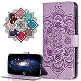 MRSTER Funda para Moto G8 Plus, Estampado Mandala Libro de Cuero Billetera Carcasa, PU Leather Flip Folio Case Compatible con Motorola Moto G8 Plus. LD Mandala Purple