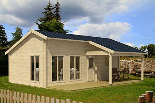 Ferienhaus F4 inkl. Fußboden - 70 mm Blockbohlenhaus, Grundfläche: 37,00 m², Satteldach