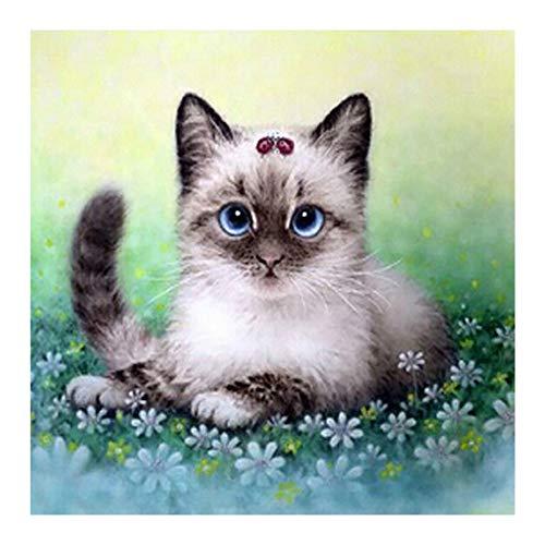 YSNMM Le Chat in bloemen, diamant schilderwerk, rond, boren, mozaïek, borduurwerk 5D, kruissteek, decoratie thuis, geschenken