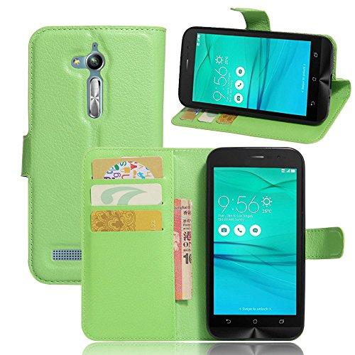 Tasche für Asus ZenFone Go ZB500KL (5.0 zoll) Hülle, Ycloud PU Ledertasche Flip Cover Wallet Hülle Handyhülle mit Stand Function Credit Card Slots Bookstyle Purse Design grün