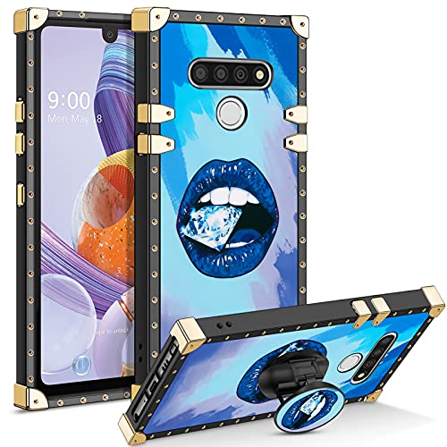 CHEERINGARY for LG Stylo 6 Case with Kickstand Square Edge Case Protective LG Stylo 6 Case for Women Girls Shockproof Heavy Duty Soft TPU Cute Case Compatible with LG Stylo 6 Lip Blue