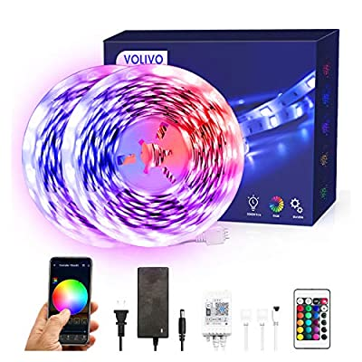 Volivo Smart WiFi Led Strip Lights 32.8ft, 2 Rolls of 16.4ft RGB Color Changing Led Strip Lights Works with Alexa, Music Sync Led Lights for Bedroom Home, Kitchen, Decoration