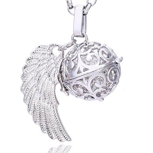 Morella Collar ángel de la Guarda de Acero Inoxidable 70 cm con Colgante alas de ángel y Bola de resonancia de circonita de Color Blanco Ø 16 mm para Damas en Bolsa para Joyas