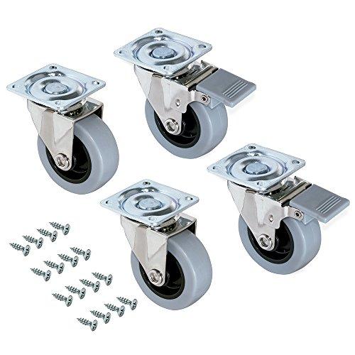 Emuca - Lote de 4 ruedas pivotantes para mueble Ø50mm con placa de montaje y rodamiento de bolas, ruedas de goma para muebles color gris