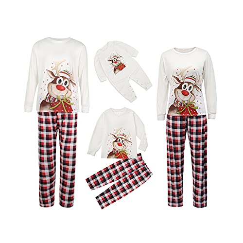 Corrispondenza Famiglia Pigiama Set Natale Pigiami Pigiameria Cervo Manica Lunga top Plaid Pantaloni Set Vestiti di Natale per Bambini Adulti, Mamma bianca, Large