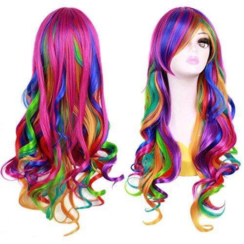 Ateid Damen Perücke Lockig Regenbogen 80cm + Haarnetz