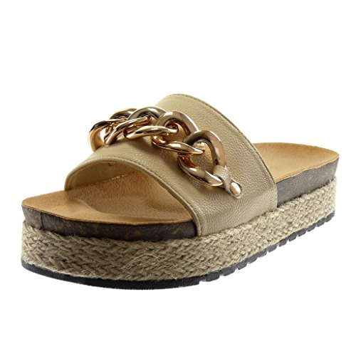 Angkorly – schoenen mode pannenkoeken slip-on platevorm dames ketting goudkleurig touw wighak platform 4 cm