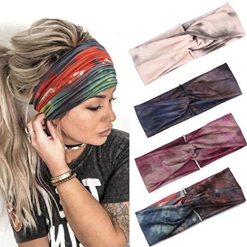 Fashband Boho Headbands Criss Cross Hair Bands Elastic Stretchy Twist Head Wraps Yoga Outdoor Head Scarfs Headpiece for Women Girls Pack of 4 (Type C)
