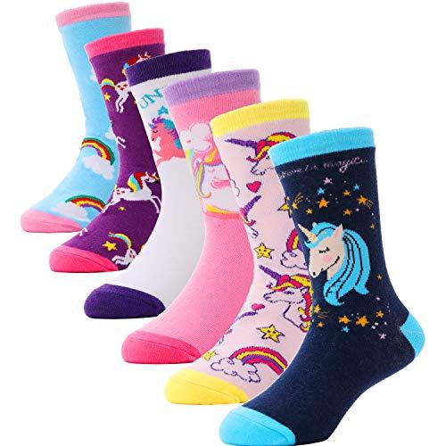 ANTSANG Kinder Socken für Mädchen Jungen Lustige Socken Baumwolle Geschenke Bunte Weich Neuheit Kindersocken 6 Paar(Einhorn I,5-8 Jahre)