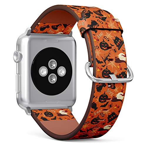 S-Type iWatch Leather Strap Printing Wristbands for Apple Watch 4/3/2/1 Sport Series (42mm) - Halloween Pattern with a Pumpkins, hauted House, Spider Web and Black cat
