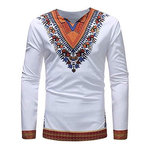 Tops Hombre Otoño Invierno Guapo Impreso Festiva Africano Ropa Folk Personalizado Cuello En V Manga Larga Dashiki Camisa Básica Blusa (Color : Blanco, Size : L)