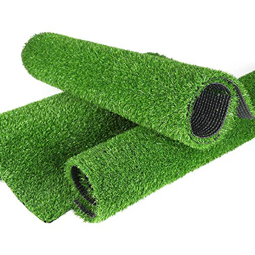 FOGUO Realistic Artificial Grass Turf, Thick Fake Grass Rug, Synthetic Grass Mat with Drainage Holes, Indoor Outdoor Garden Lawn Landscape, Easy to Clean, Customized Sizes