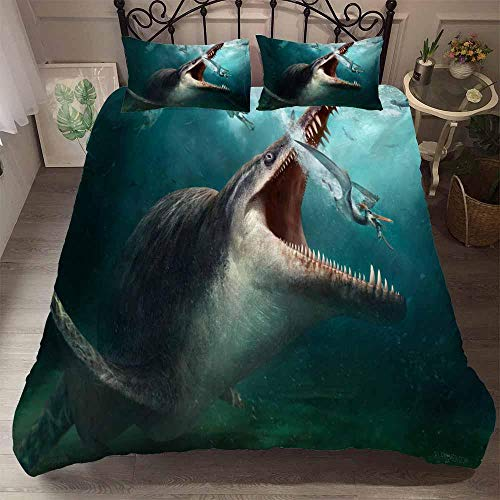 AHJJK Duvet cover set 55 x 79 inchAnimal shark 3D Printed Microfiber Bedding Duvet Cover with 2x Pillowcases & Zipper Closure Quilt Case for Boy Girl Single Double King Bed