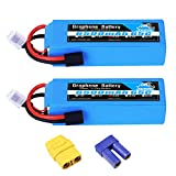 YOWOO 2Pcs 14.8V 4S Graphene Lipo Battery 6500mAh 65C with Traxxa and XT90 / EC5 Plug RC Batteries for RC Plane DJI F450 Quadcopter Airplane Helicopter RC Tracxas Car Truck Boat (Short)