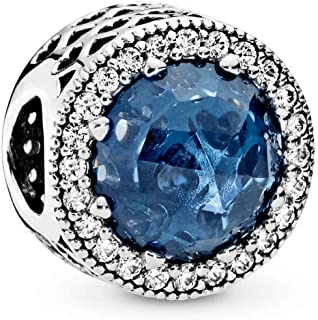 PANDORA Radiant Hearts Charm, Sterling Silver, Moonlight Blue Crystal, Clear Cubic Zirconia, One Size