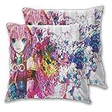 LONSANT Fundas de Cojines 45x45cm,Anime Pink Cartoon Colorful Girl,decoración Cuadrado Fundas de Almohada Funda de cojín para sofá Dormitorio,Pack de 2